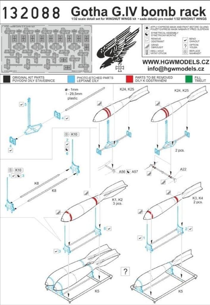 PE Detail Set #132088 HGW 1:32 Gotha G.IV Bomb Rack for Wingnut Wings