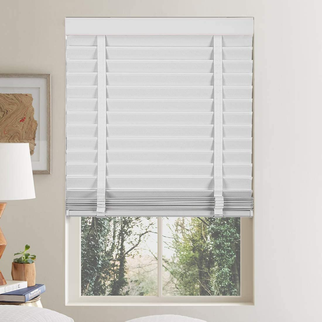Keego 2 Faux Wood Window Blinds Venetian Blinds Custom Cut to Size, Polyester Fabric Horizontal Blinds Light Filtering Cloth Blind with Decorative Cassette, White 27.75 W x 60 H