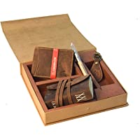 Leaderachi Genuine Hunter Leather Combo (Wellet ,Dairy,Keyring,pen ) Set