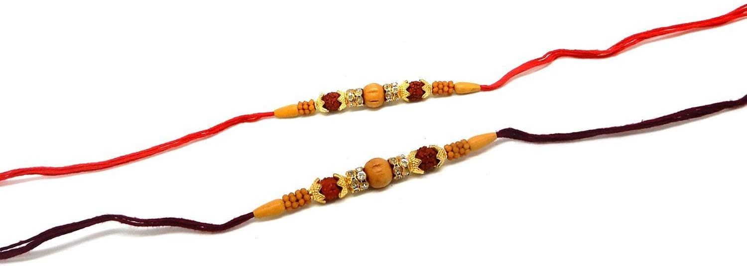 WhopperIndia Set Of 2 Rakhi for Rakshabandhan with yellow beads and rudraksh stone multibeads threads and for giving gift to brother