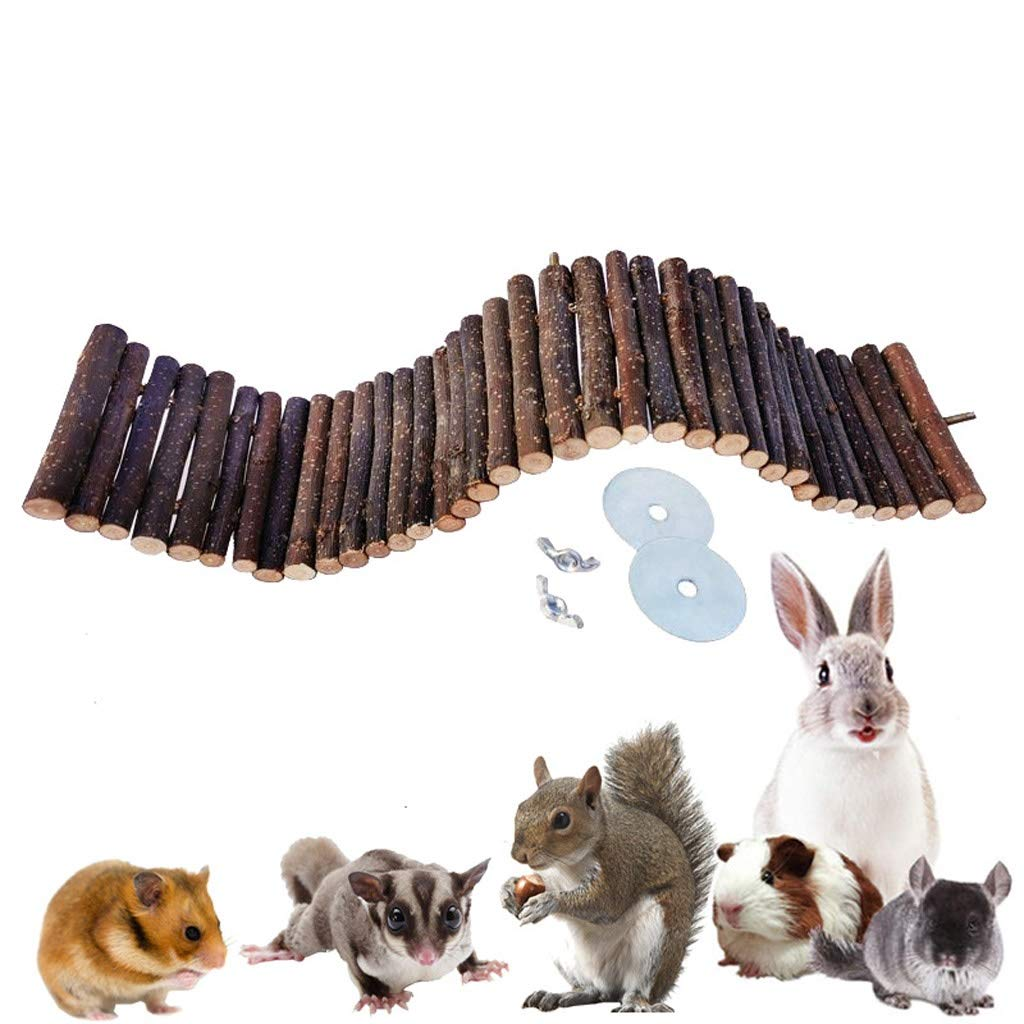 Bird toy Natural Suspension Bridge Wooden Animal Climbing Ladder, Lovely Wooden Chew Toys Ladder for Little Pets Hamster Rats Birds Chinchillas Guinea Pigs (Color : Wood Color, Size : 1550cm) by Bird toy