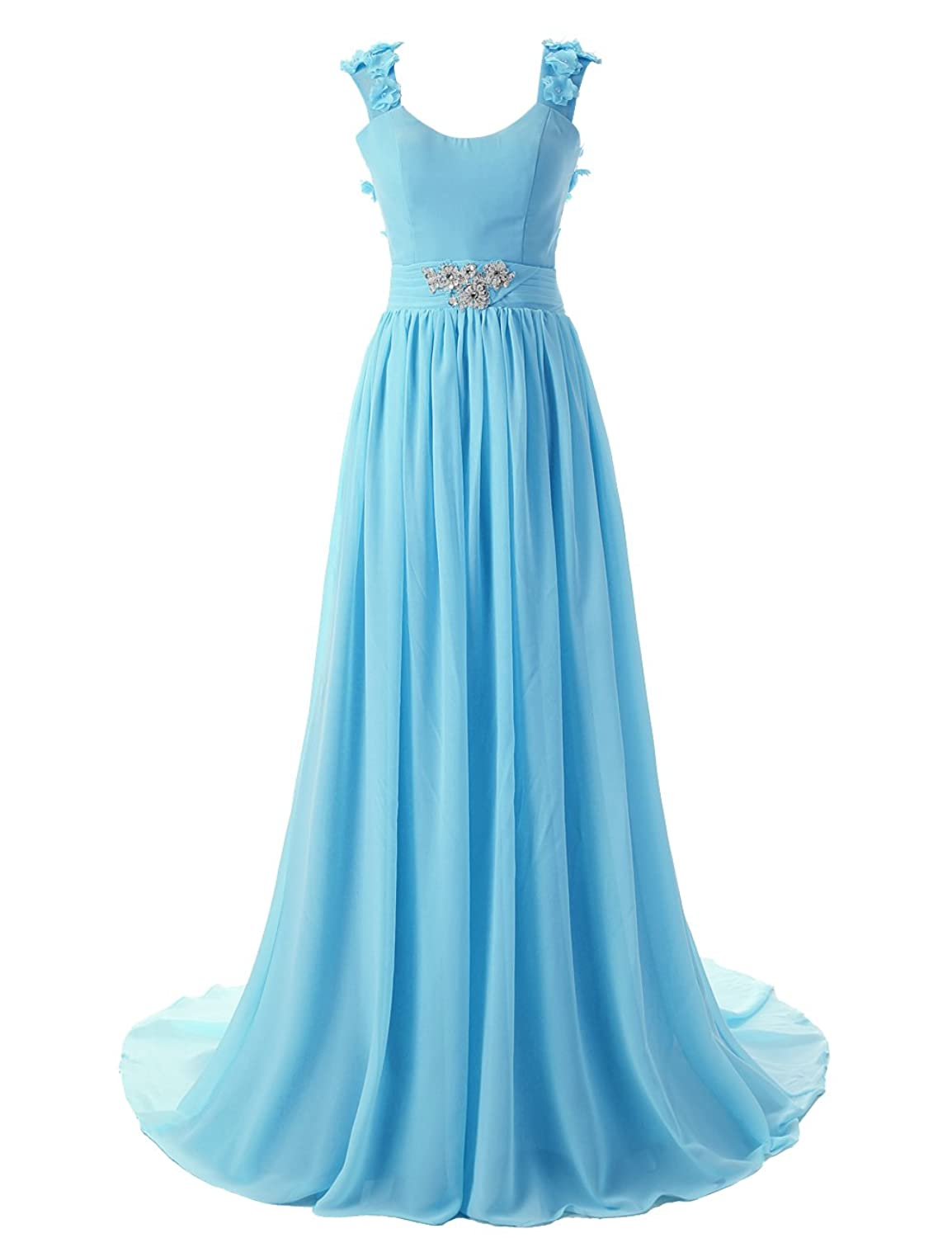 Dressystar Bodenlanges elegantes Ballkleid fashion Brautjungkleid Chiffon Blau in Gr??e 50W