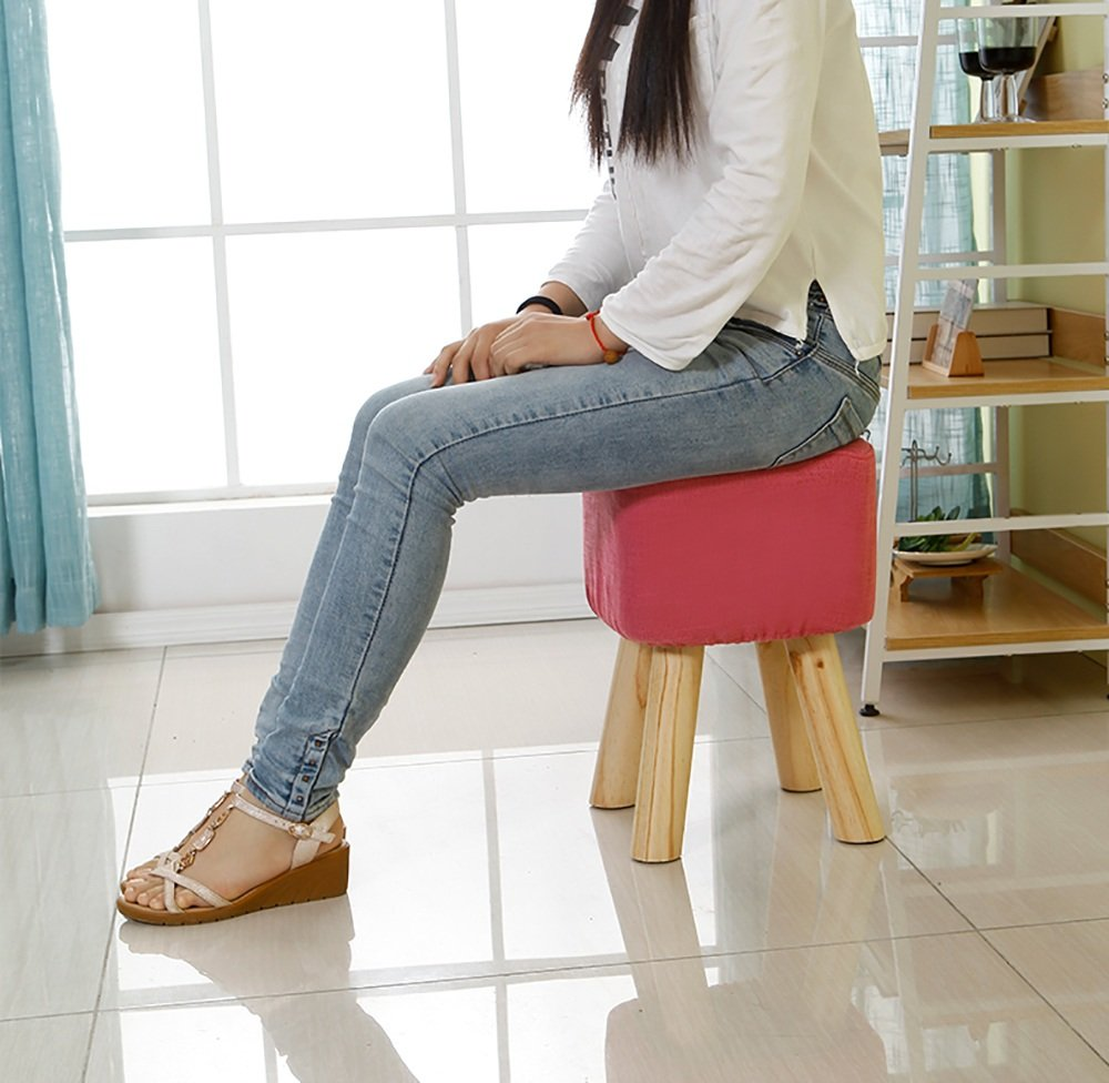 XRXY Solid Wood Heightening Footstool / Creative Living Room Shoe Stool / Cloth Sofa Stool 5 Colors Available ( Color : Pink ) by ZAYJD (Image #1)