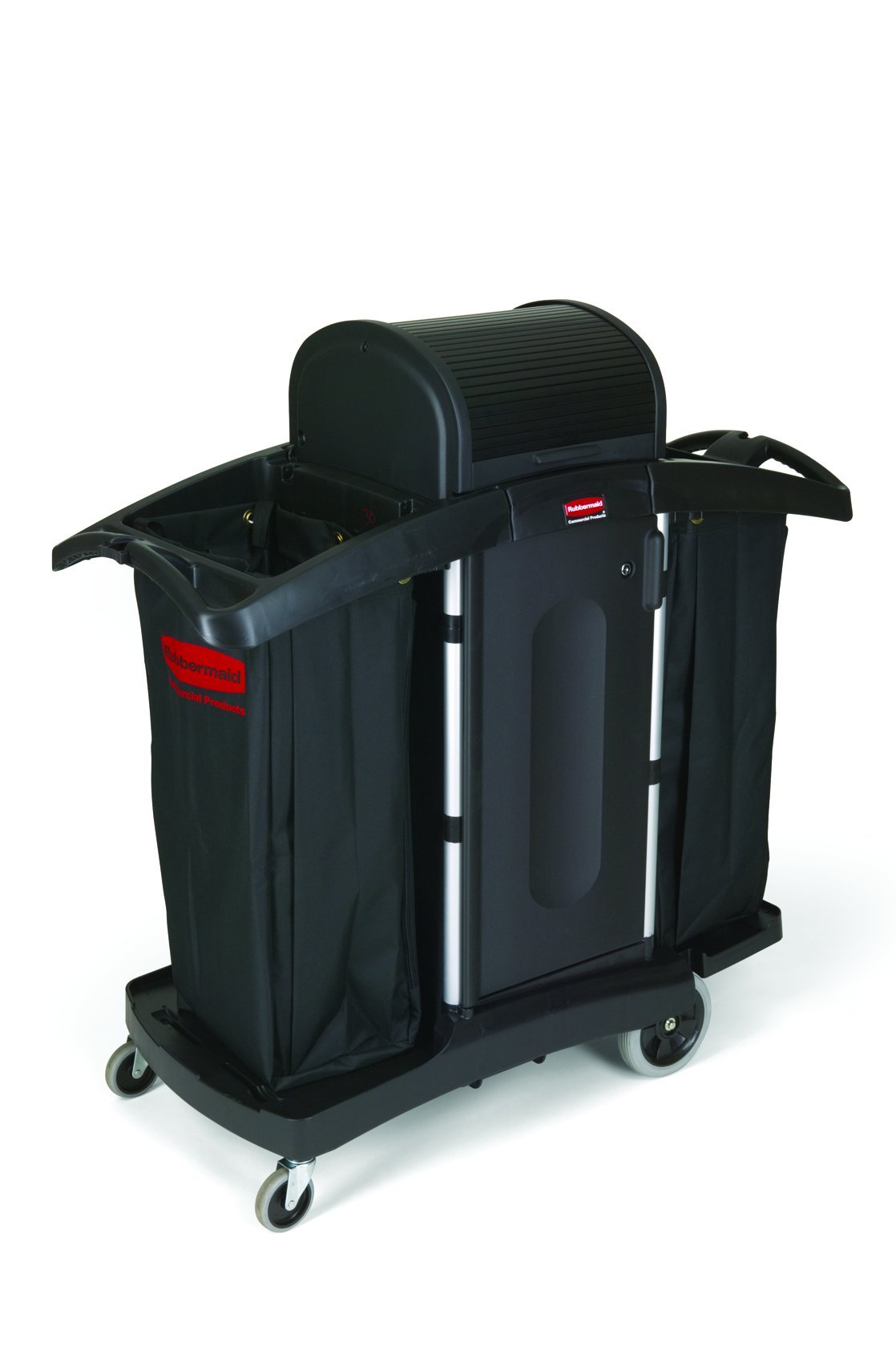 Rubbermaid Commercial Executive Series High Security Housekeeping Cart, Black, FG9T7800BLA