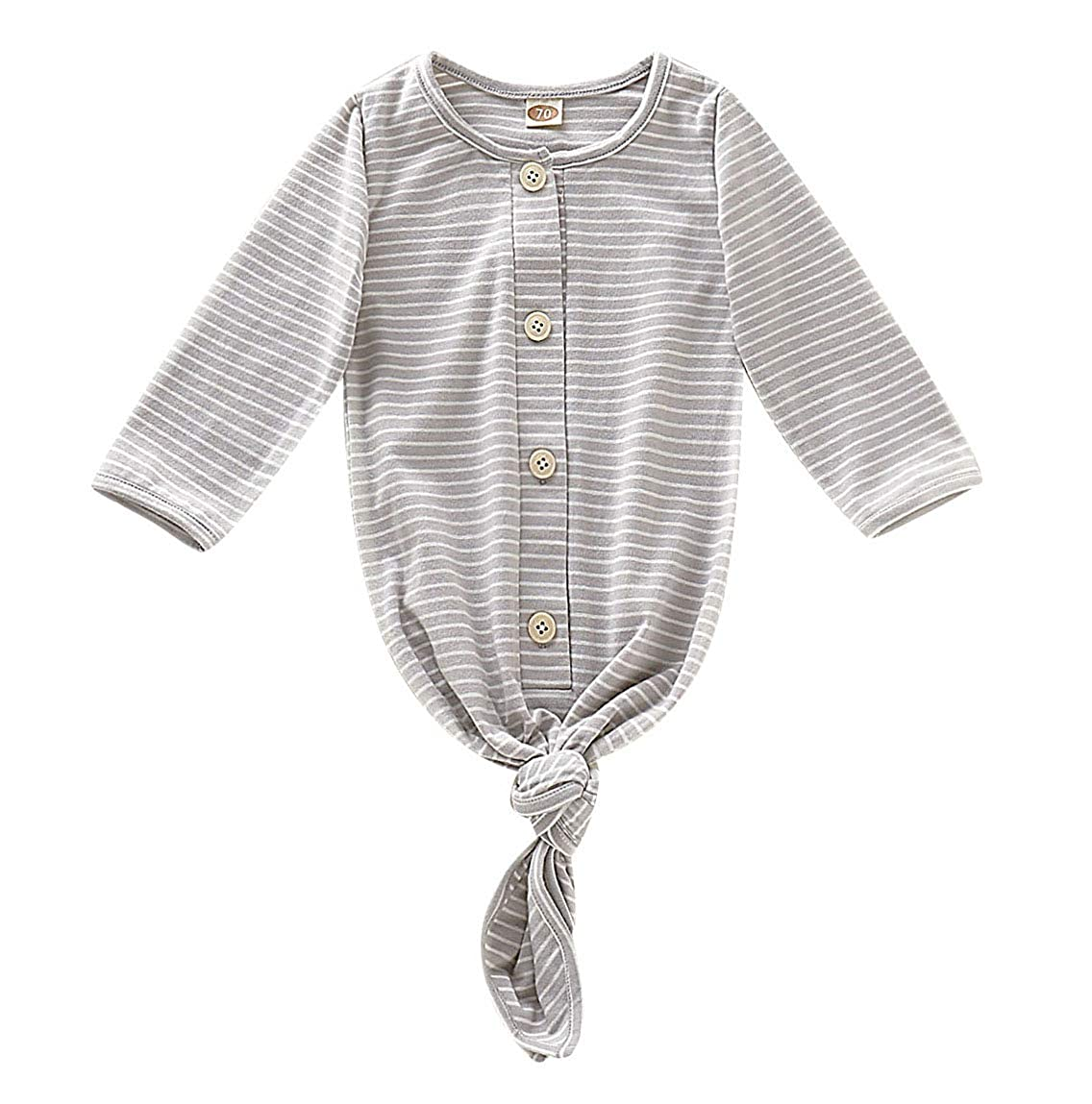 SAYOO Unisex Baby Striped Cotton Sleeper Gowns with Cap Long Knotted Sleeping Bag