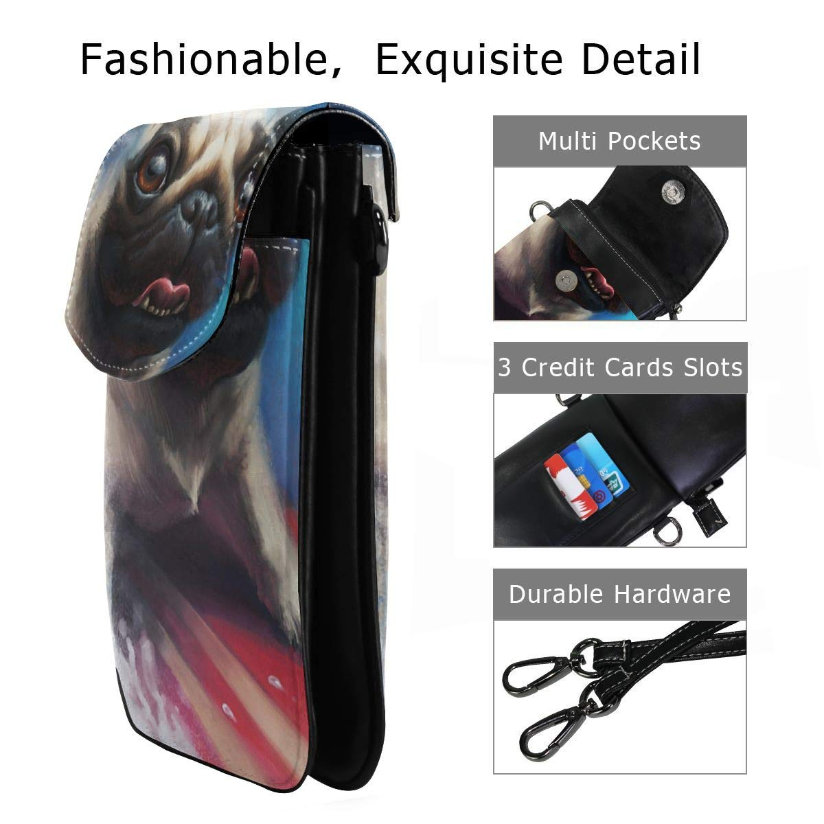 Hsanfwnzl Small Cell Phone Purse Pug Crossbody Bags with Shoulder Strap Coin Purse Wallet for Women,Girls
