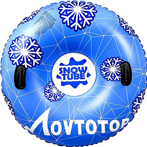"MOVTOTOP Snow Tubes, 47""Inflatable Snow Sleds, Durable Snow Tubes for Sledding with Handles, Heavy Duty Inflatable Snow Tube Made by Thickening Material of 0.6mm"