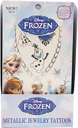 Over 25 designs! NEW Disney Frozen Silver Temporary Jewelry Tattoos; 2 Sheets