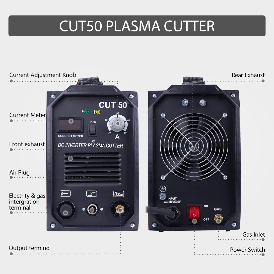 VIVOHOME DC Inverter Plasma Cutter Cutting Machine Dual Voltage 110V/220V CUT-50 by VIVOHOME (Image #1)