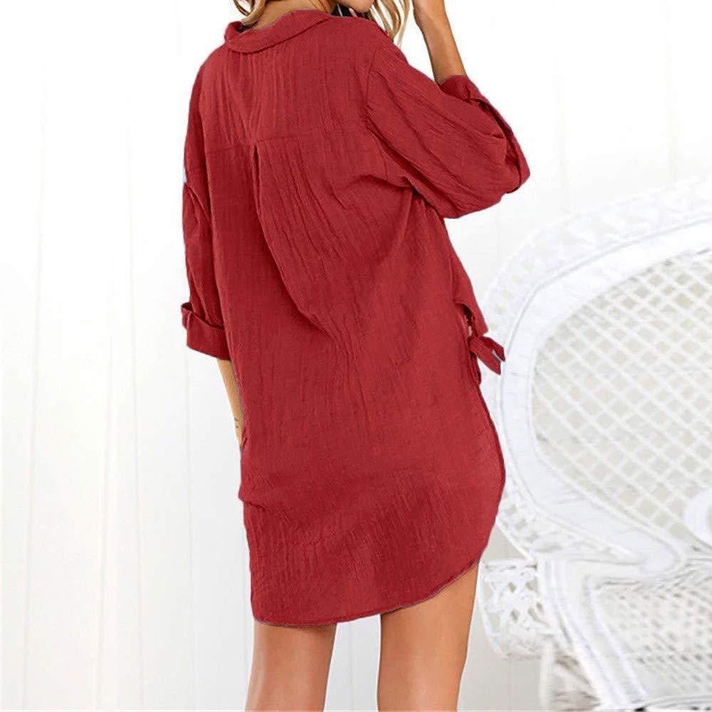 Blouse for Women,MILIMIEYIK Womens Loose Button up Long Shirt Dress Cotton Shirts Ladies Solid Casual Tops T-Shirt S-XXXXXL