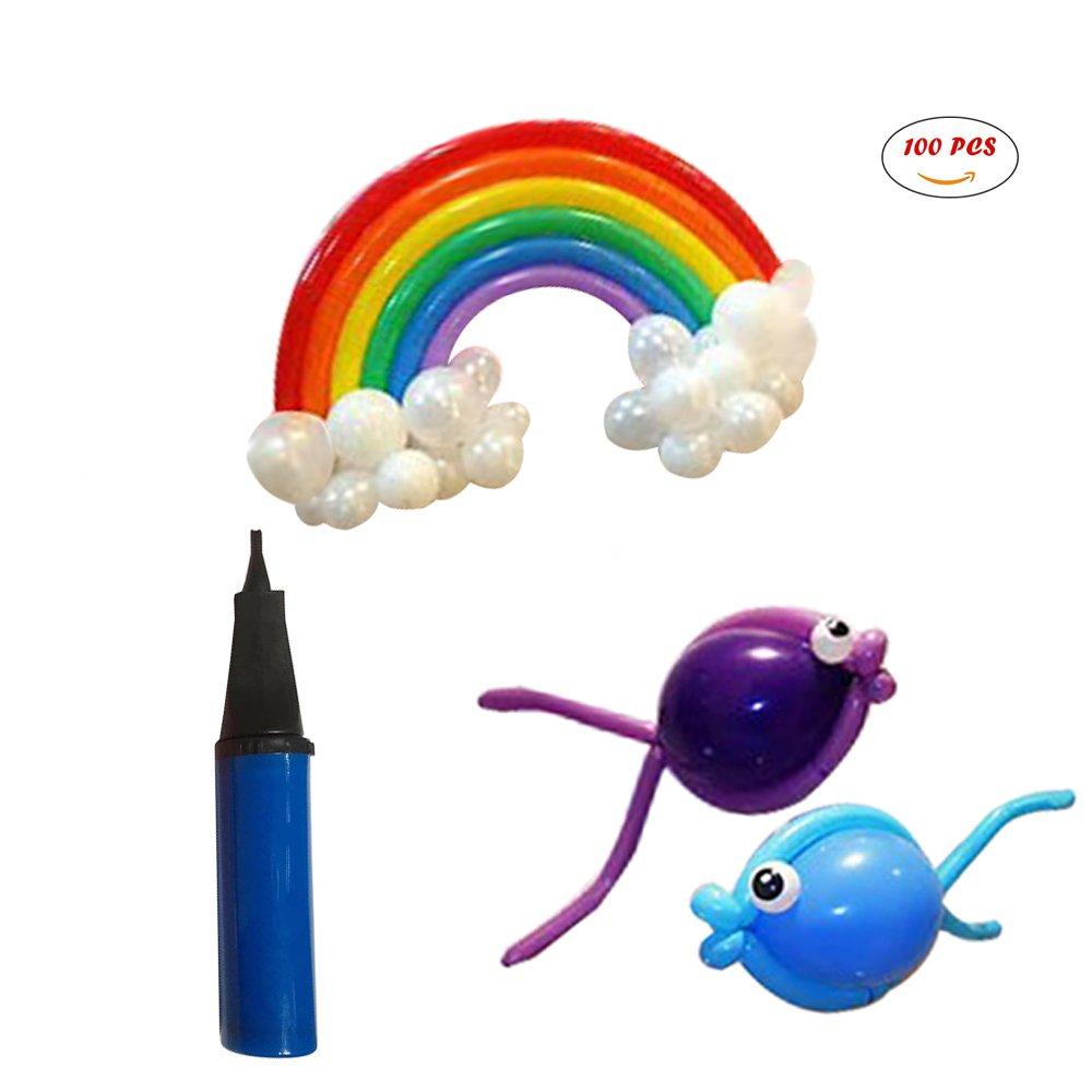 260Q Animal Balloons(100).Party Balloons. Hand Held Air pump. Random Color.