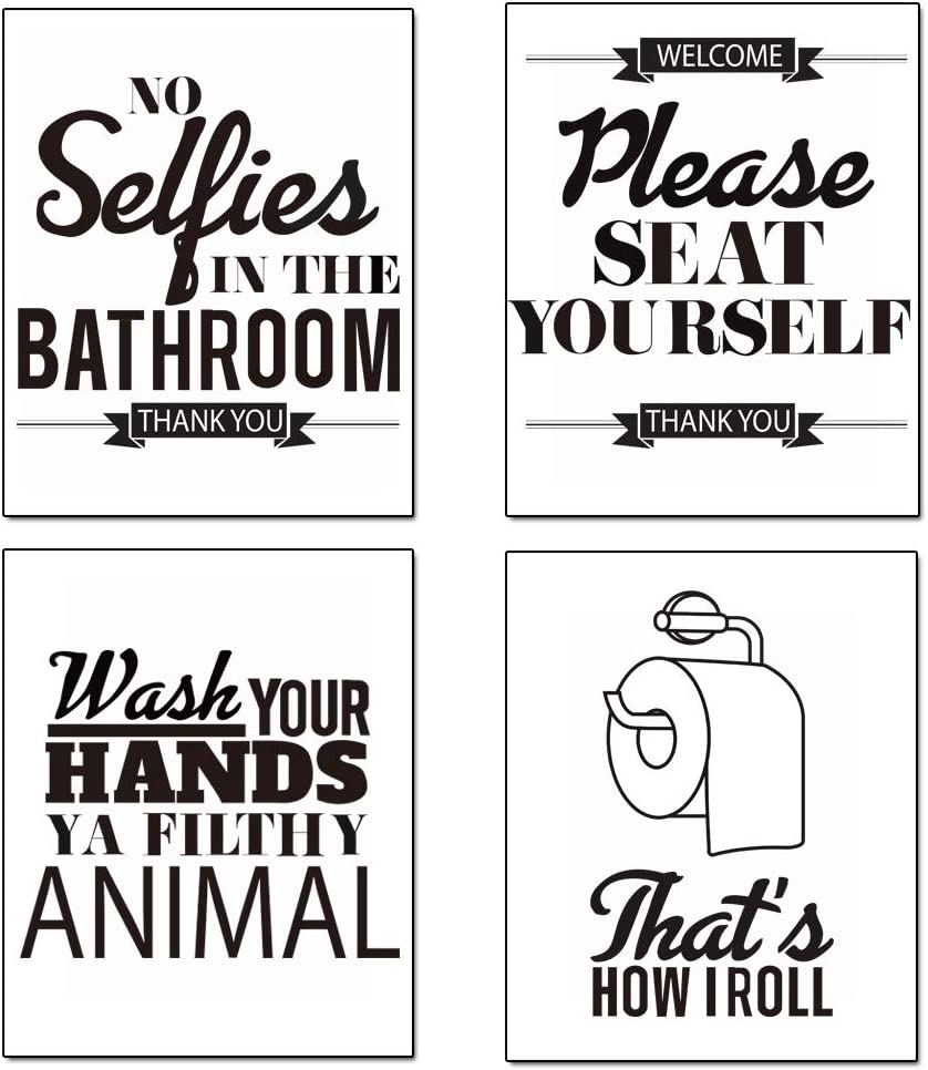 GEEDUO Funny Bathroom Wall Decor Bathroom Quotes and Sayings Art Prints Great Decor for Bathroom Set of 4 Photos 8x10 Inch Unframed Set3