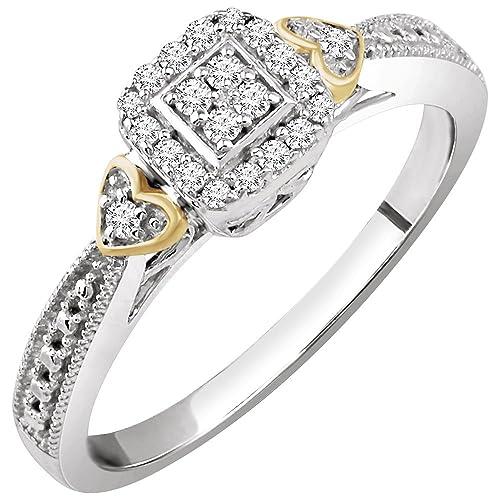 JewelryWeb Anillo de Compromiso de Oro Blanco y Oro Amarillo de 10 Quilates Pulido de 0