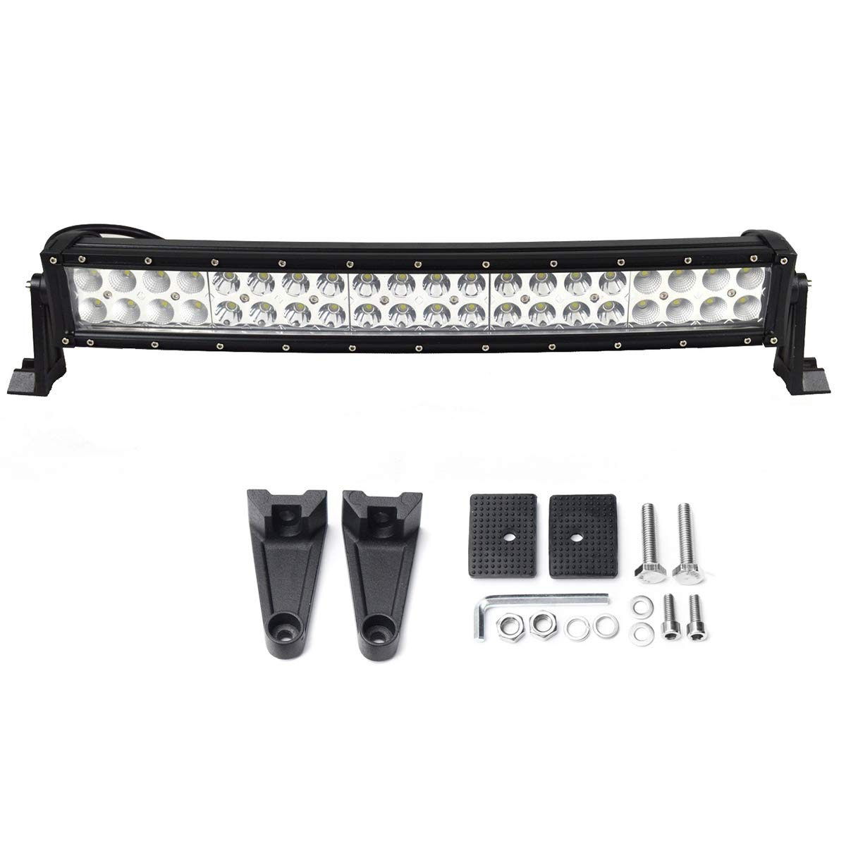 Willpower 32 inch Curved LED Light Bar 180W Double Spot Flood Combo Led Driving Fog Work Lightbar with Mounting Bracket for 4x4 Off Road Boat SUV UTE ATV Truck
