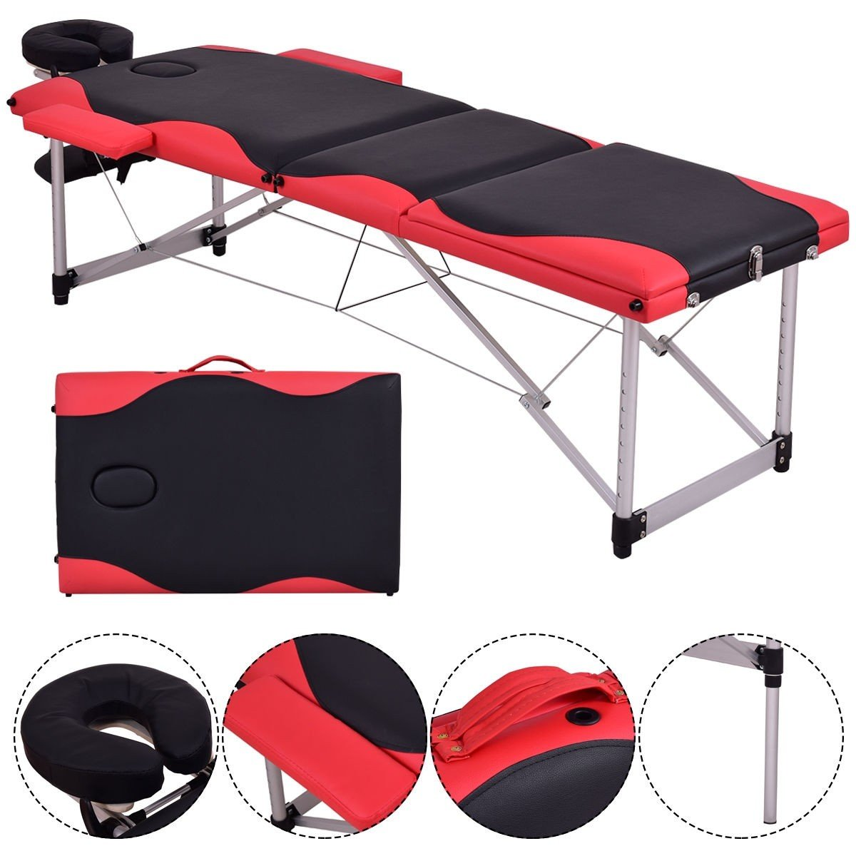 84 L Aluminum Massage Table – Adjustable Portable Massage Bed for Salon Beauty Physiotherapy Facial SPA Tattoo Household 3 Section