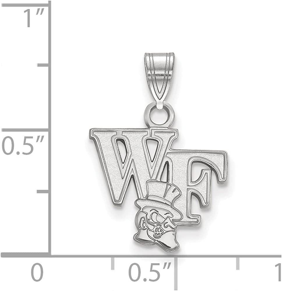 Solid 925 Sterling Silver Official Wake Forest University Small Pendant Charm 18mm x 13mm