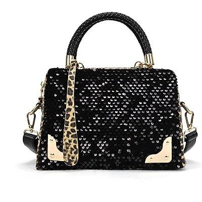 Lavany Women Messenger Bag PU Leather Sequin Leopard Shoulder Bag Handbag for Women