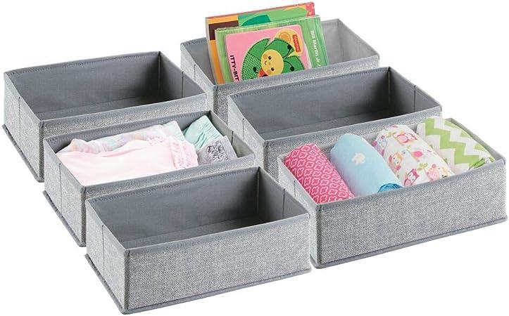 mDesign Organizador para armarios (juego de 6) – Cajas de plástico para ropa, cosméticos, pañales, pañuelos, lociones o medicamentos – Separador de cajones de color gris: Amazon.es: Hogar