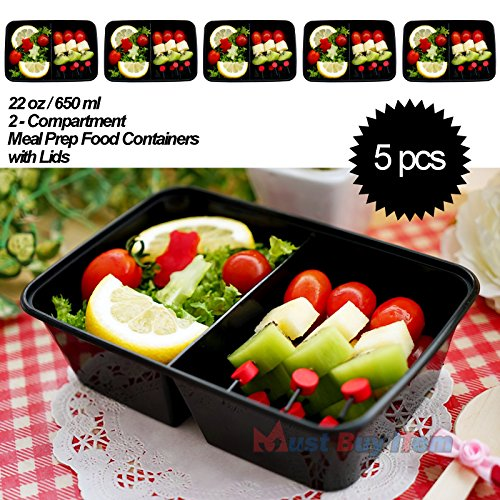 Repertory Storage - 5 pcs Food Plastic Storage Lunch Meal Prep Containers Reusable Microwavable 22oz 2 Compartment with Lids
