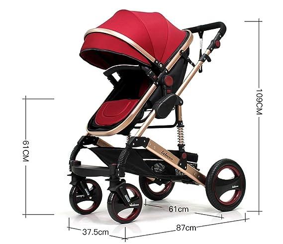 Puede estar acostado carro, trole de bebé de alto perfil, invierno y verano de cuatro ruedas choque carrito de bebé (Color : Khaki) : Amazon.es: Hogar