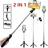 Tersely Bluetooth Wireless Selfie Stick, 2in1 Tripod with Shutter Remote with Rear Mirror for Apple iPhone Xs Max XR Android Samsung Pocket Extendable Monopod Aluminum Alloy 360°Rotation