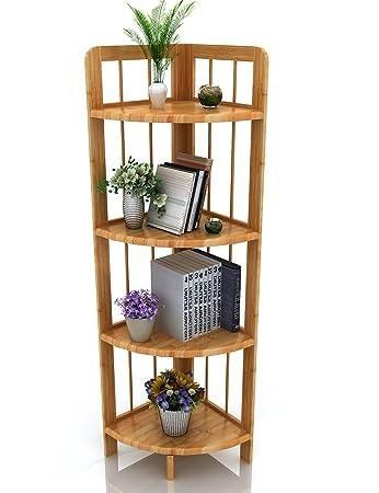 Ufine Bamboo Corner Shelf Bathroom Shower Organizer Storage Display Rack  Shelving Unit Kitchen Living Room Bookcase