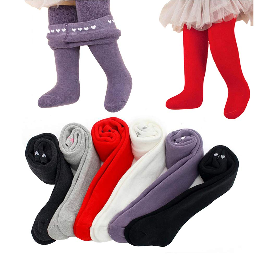 6 Pack of Heart Pattern Thicken Tights Winter Legging Pants Stockings for Baby Infant Toddler Kids Girl (6pack, 1-2T) by Zulaniu