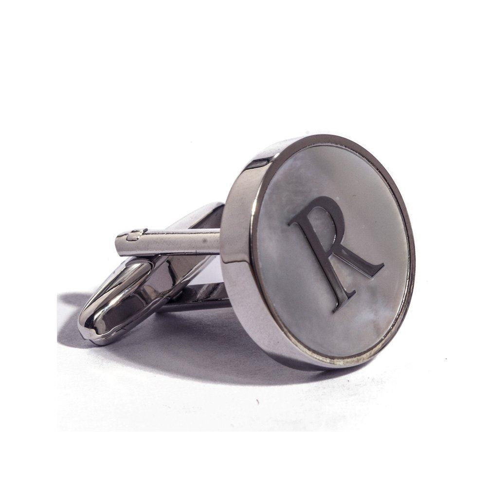 Digabi Initial Letter Cufflinks 18K White Gold Mother of Pearl R