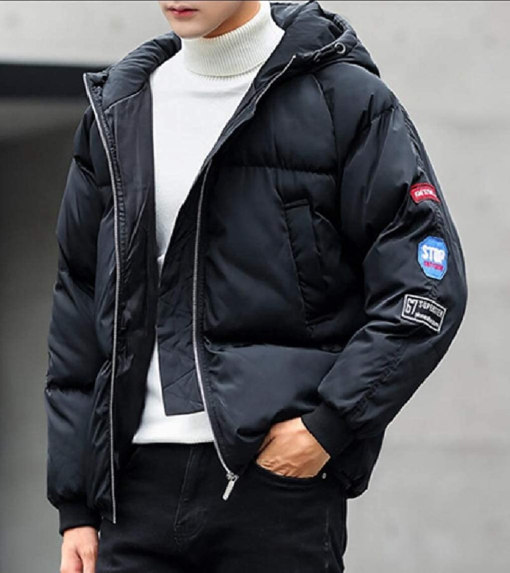 Yayu Mens Winter Trench Jacket Hooded Thickened Down Quilted Coat Outwear