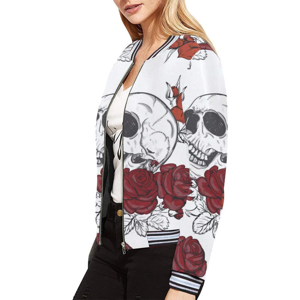 InterestPrint Womens Stand Collar Zip up Skull Flowers Print Bomber Jacket Coat