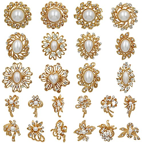 WeimanJewelry Gold Plated 24pcs Crystal Rhinestones Brooch Pins for DIY Wedding Bouquets Kit (Gold with ()