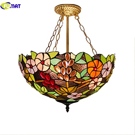 fumat tiffany pendant lights rose flower stained glass 16 led e26