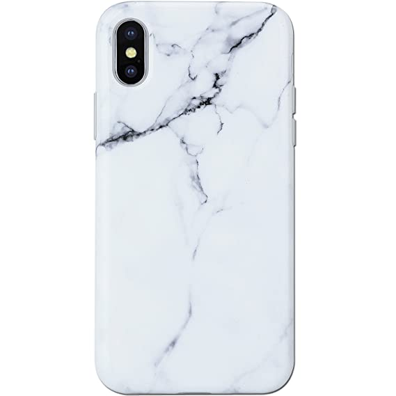 outlet store c2e76 88a48 iPhone X Case Marble White, KINFUTON iPhone X Phone Case,Slim Fit Glossy  TPU Soft Rubber Silicon Gel Mobile Phone Case Protective Cover for iPhone X  ...
