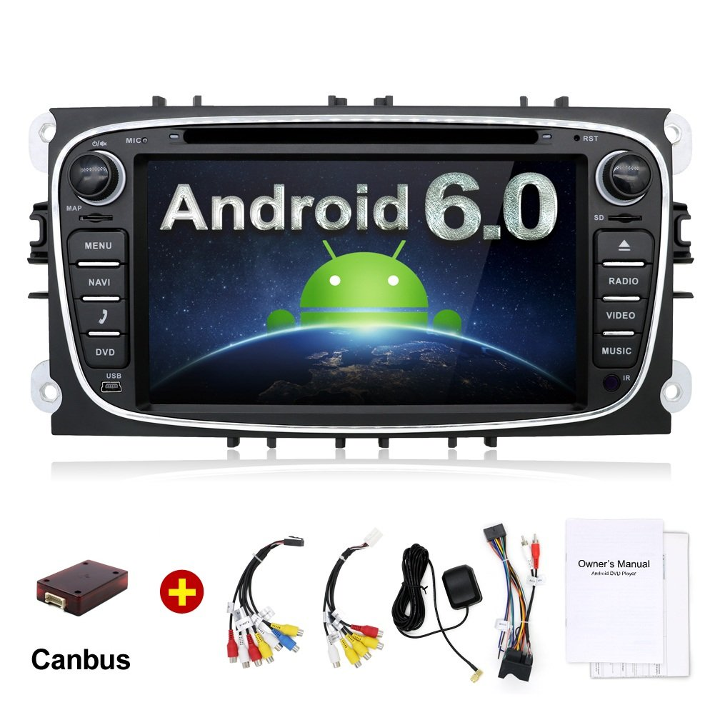 2 G 32 G 7インチクアッドコアAndroid 6.0 HD 1024 x 600ダブル2 DIN Inダッシュラジオマルチメディア受信機用タッチ画面Bluetooth & USBポート内蔵(ブラック/シルバー) フォード/フォーカス/S - Max/モンデオ/C - Max/Galaxy B06WVD2N7H