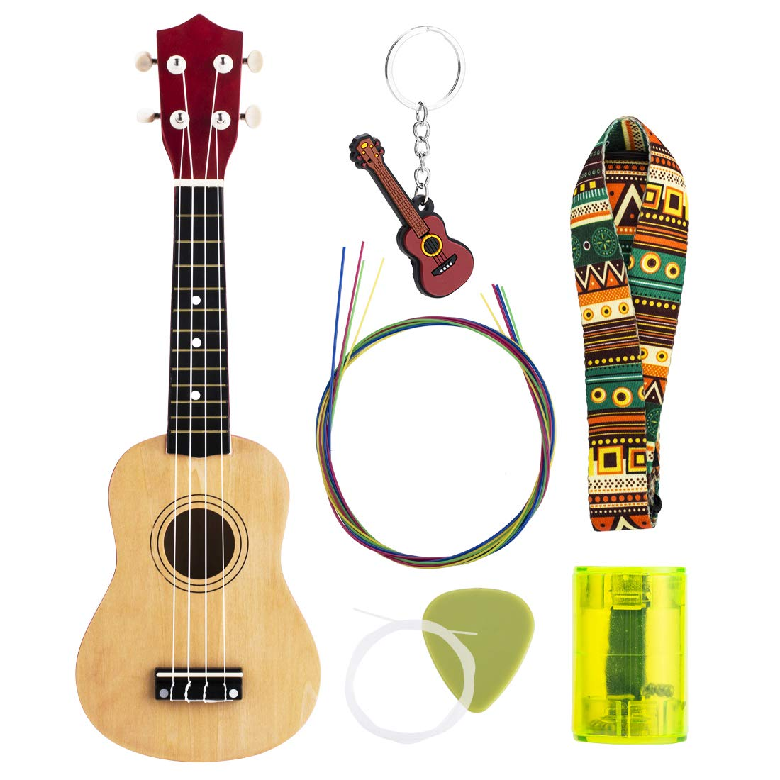 Ukulele for Beginner set 21 Inch Learn To Play : All Wood Stringed Musical Instrument with Rainbow Strings plus Replacements, Finger Shaker, Pick, Shoulder Strap and Key Chain