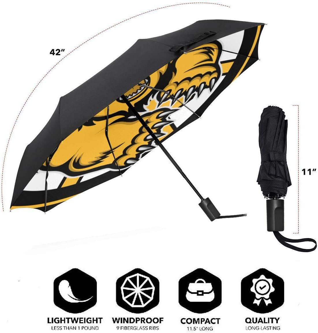 Bos-ton B-Ruins Compact Folding Business Umbrellas UV Protection Manual Tri-fold Umbrella for Men and Women Lovesofun Portable Manual Umbrella