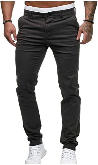 VITryst Men Standard-Fit Loose Fit Solid Color Thin Mid Waist With Pocket Work Pant