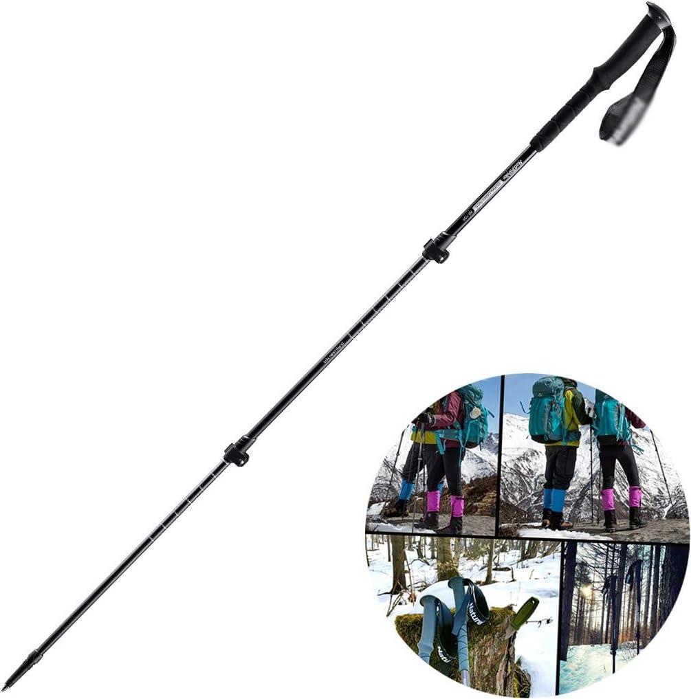 schwarz 135cm PSHHLBR Wanderstöcke Trekkingstöcke Aus Aluminium Teleskop-Faltstock Mit Externer Verriegelung Outdoor-Ausrüstung Wandern (Farbe   schwarz, Größe   135cm)