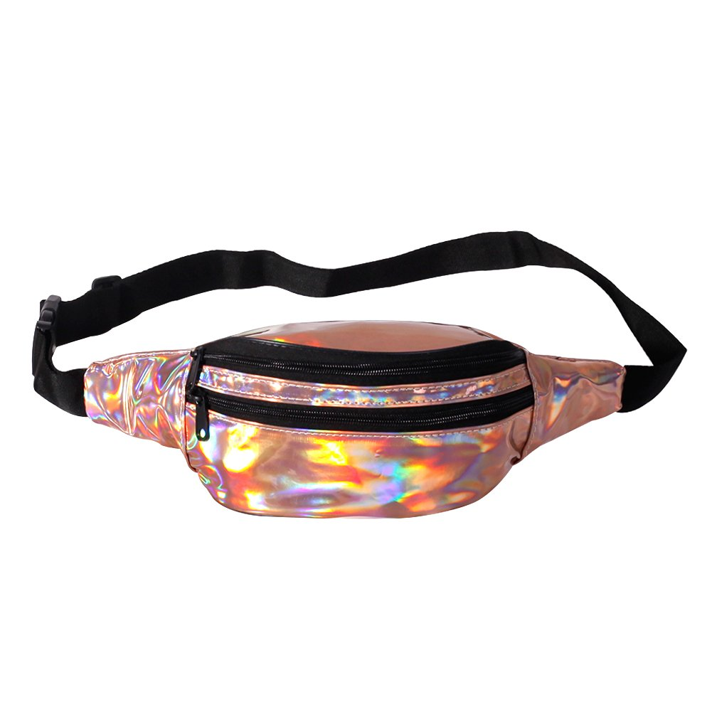 Holographic Fanny Pack for Women – Metallic Leather Waist Pack Adjustable Belt (Rose Gold)