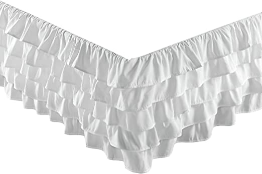 "Gray Chezmoi Collection Ella Waterfall Ruffle 15/"" Drop Bed-skirt Twin Size"