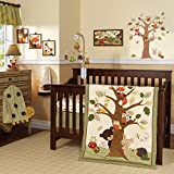 Lambs & Ivy Echo 11-Piece Nursery to Go Crib Bedding Set - Forest/Woodland Creature Theme