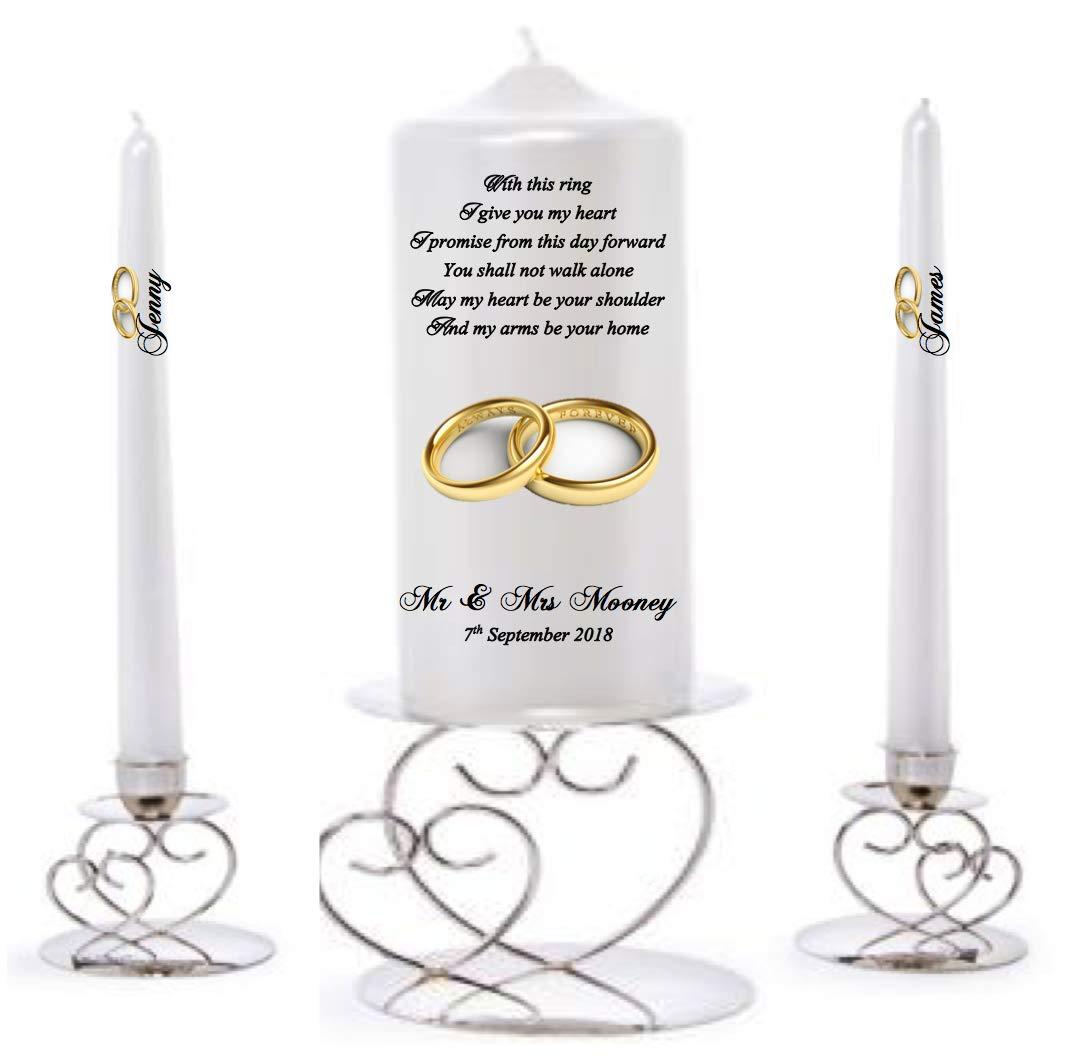 Personalised Monogram Unity Candle Set Wedding Engagement Centrepiece Gift Keepsake Civil Ceremony Anniversary Favour Valentines Gift