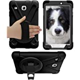 Galaxy Tab E 8.0 Case Cover by KIQ TM Hybrid Protective Shield Case Cover w/ Palm Handstrap for Samsung Galaxy Tab E 8.0 SM-T377 (Shield Black)