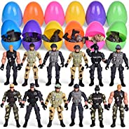 12 PCs Soldier Toys Filled Easter Eggs with Assorted Take Apart Toys, Poseable Soldier Action Figures Army Toys, Easter Bask