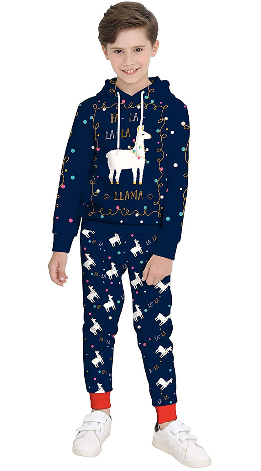 KIDVOVOU Boys Girls Christmas Outfit Hoodie Sweatshirt Tops Sweatsuit Pants Set 4-13Y