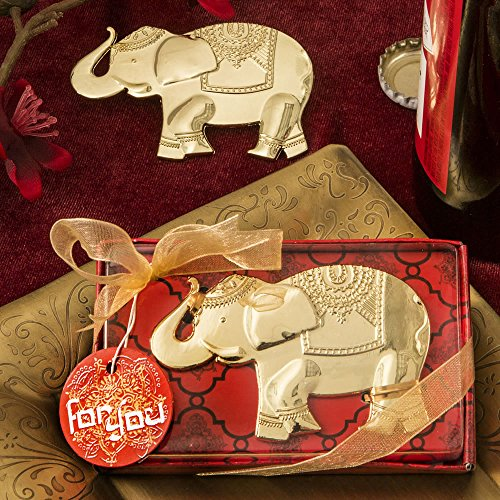 60 Good Fortune Elephant Design Gold Metal Bottle Openers by Fashioncraft