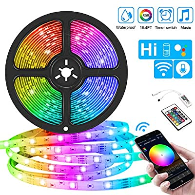WiFi LED Strips Lights,IP65 Waterproof Smart LED Strip Kit RGB LED Strip Lights Music Sync, Voice Control Compatible with Alexa Echo, Google Assistant, Decoration for Home Garden Party Bar (16.4ft)