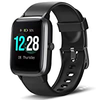 Smart Watch Fitness Tracker Heart Rate Monitor Step Calorie Counter Sleep Monitor Music Control IP68 Water Resistant 1.3 Inch Color Touch Screen Activity Tracking Pedometer for Women Men