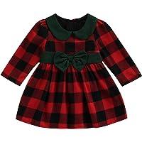 N /D Toddler Kids Baby Girl Christmas Dress Long Sleeve Plaid Bowknot Princess Tutu Dresses Outfits Fall Clothes