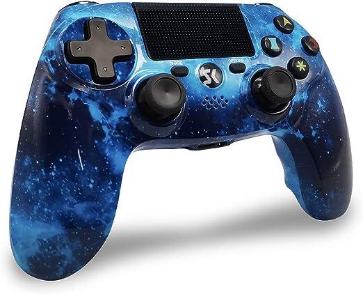 Mandos PS4 Inalambricos, Controlador PS4 Inalámbrico Dual Shock Gamepad de Doble Vibración SIX-AXIS con Touch Pad y Conector de Audio para PlayStation 4 / PS3 / PC (Universo Azul): Amazon.es: Videojuegos